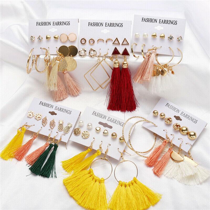6Pairs//Set Boho Tassel Crystal Pearl Earrings Women Ear Stud Drop Dangle Jewelry
