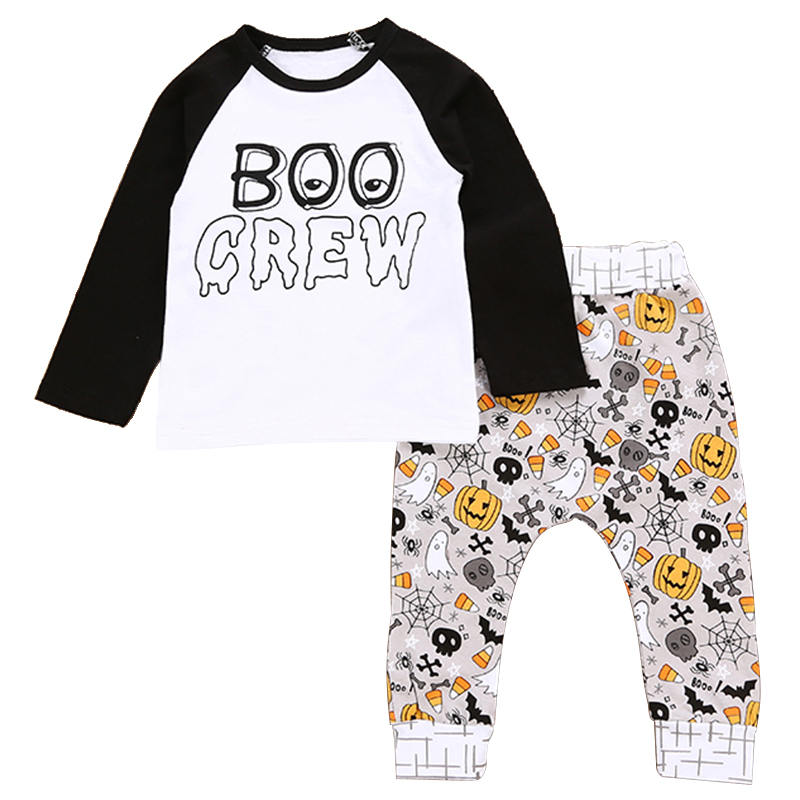 2018 Infant Baby Clothing Sets Boy Girl Long Sleeve Spring Autumn Outfits Toddler Halloween Pattern Baby Boy Girl Clothes Suits