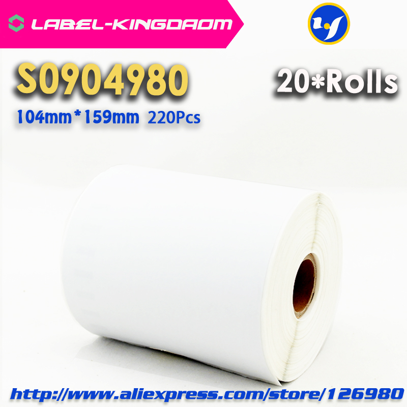 20 Rolls Dymo Compatible S0904980 Label 104mm 159mm 220Pcs Roll Compatible for LabelWriter 4XL Printer 4