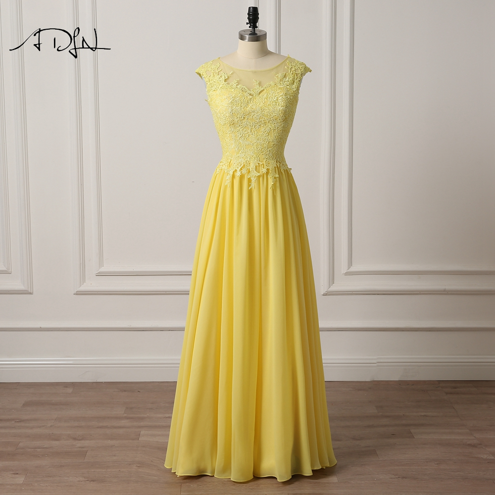 ADLN Elegant Scoop Cap Sleeve Bridesmaid Dresses Long Yellow/Coral Color Chiffon Wedding Guest Gown Maid of Honor Dress
