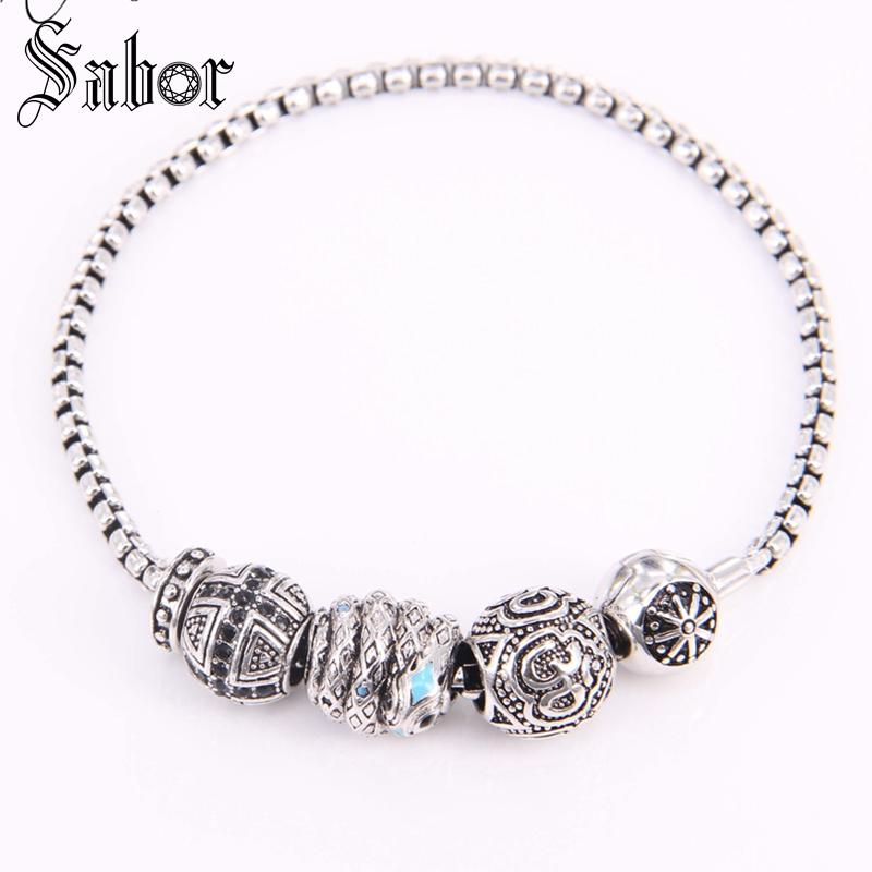 KM Bead DIY Bracelet With Snake Bead OM Bead Cross Bead & Stopper Rebel Rock Bracelet For Men KB602 thomas jewellery