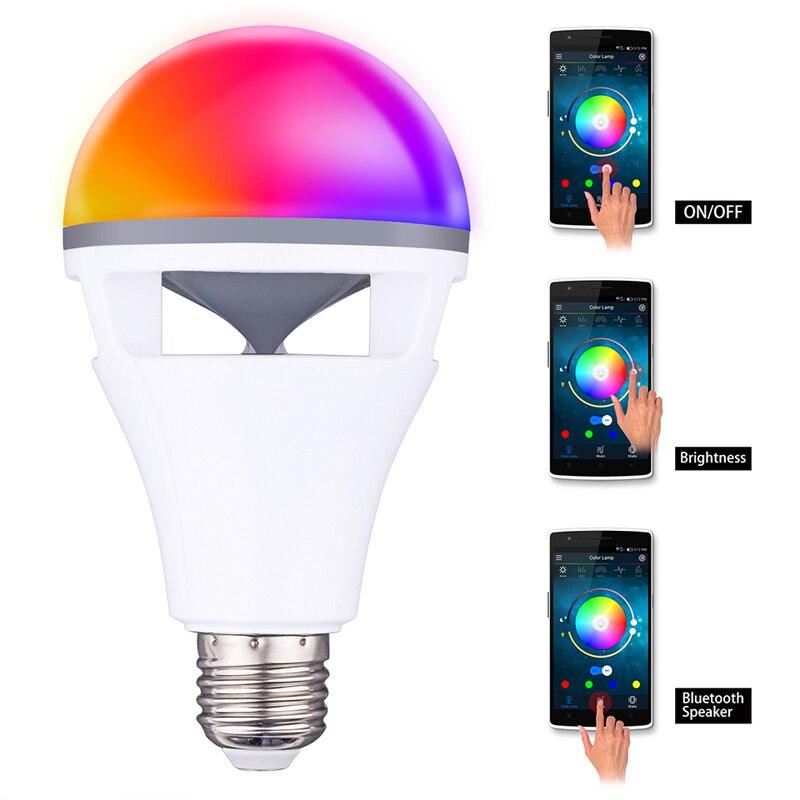 Bluetooth app contrôle haut-parleur ampoule lampe de haute qualité RGBW E27 ampoule avec bluetooth haut-parleur musique jouant coloré haut-parleur ampoule