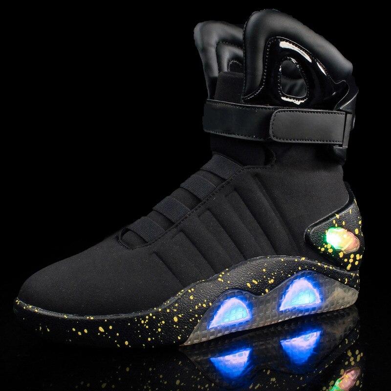 Взрослых зарядка через usb светодио дный светящиеся туфли для Мужская мода свет Повседневное Для мужчин Назад в будущее светящиеся кроссовк...