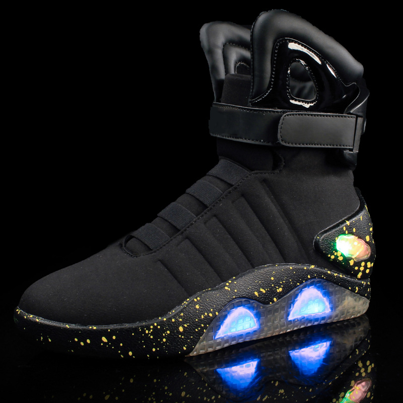 Adults USB Charging Led luminous Shoes For Mens Fashion Light Up Casual Men back to the Future Glowing Sneakers Free shipping