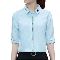 Embroidery Cute Animal Lady Chiffon Blouses Size S 2XL Half Sleeve Style Women Summer White OL
