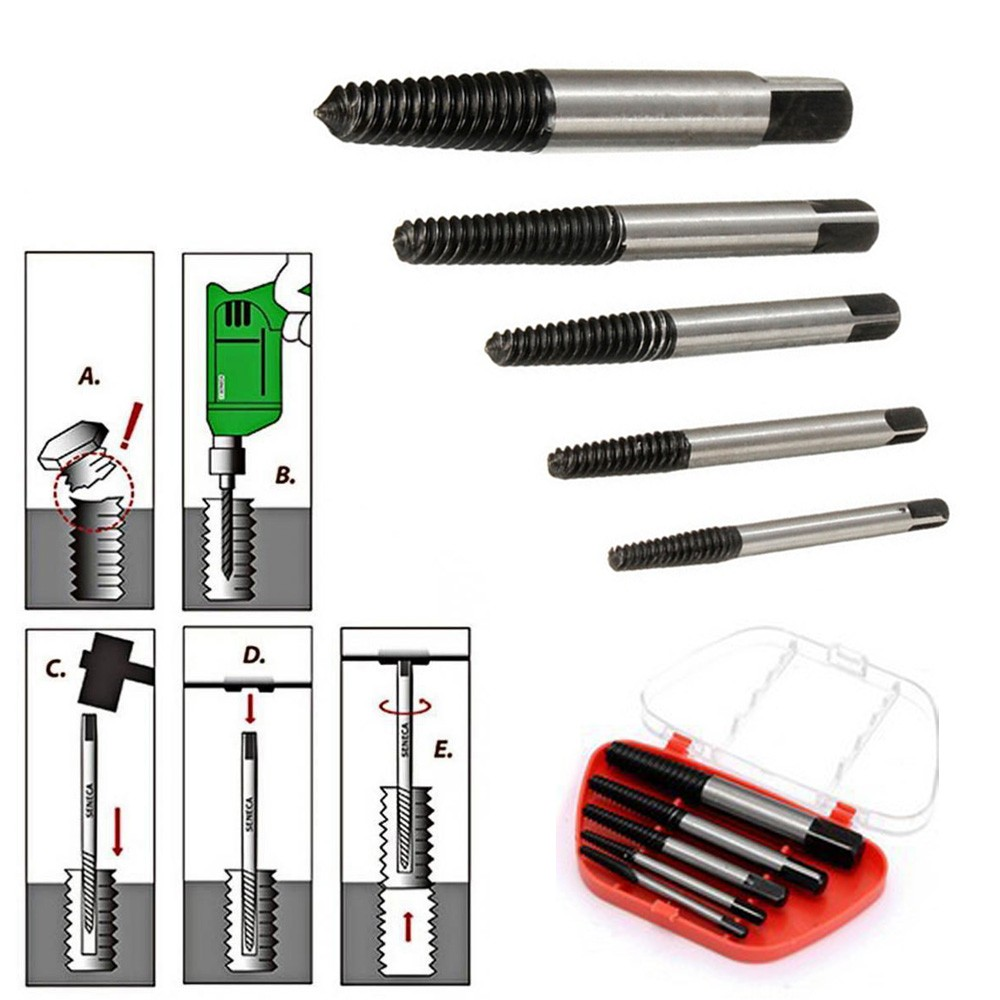 Furniture Accessories Tools 5PCS Screw Extractor Drill Bits Guide Broken Damaged Bolt Remover