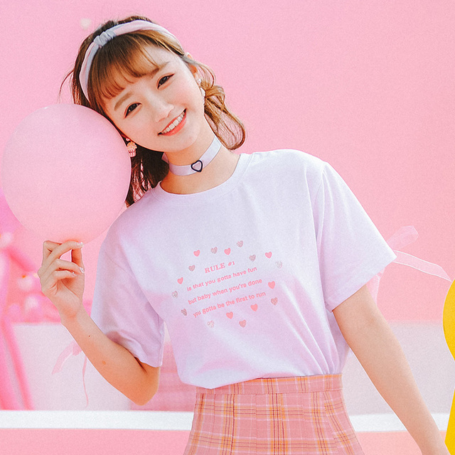 df2872f263f3c3 kawaii clothes 2018 harajuku korean summer cute shirts women printed letters  pink love fashion trend ribbon