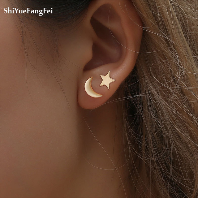 2018 New Cute Alloy Moon Star Stud Earrings For Women Gold Colour Everyday Mothersday