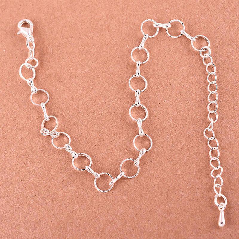 Nowy prosty srebrny kolor koła bransoletka i bransoletki typu bangle dla kobiety słodki metalowy okrągły łańcuch kobiece bransoletki prezenty hurtowo