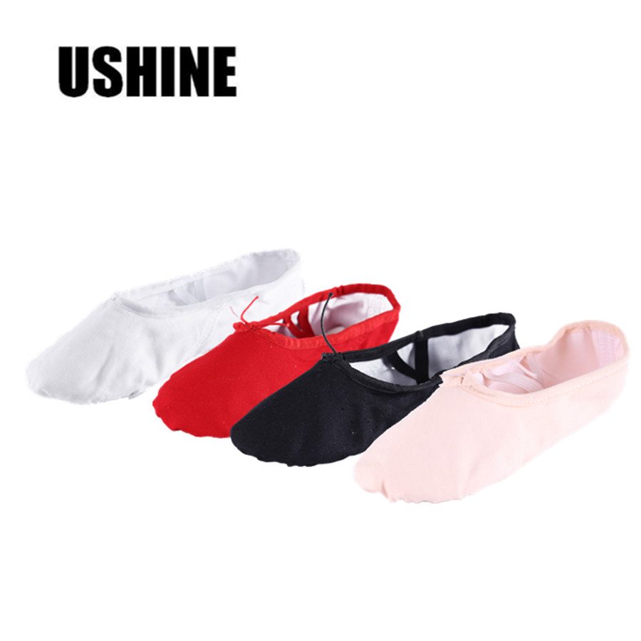 USHINE Black Red Pink White Canvas Flat Yoga Teacher Gymnastic Ballet Dance Shoes Children's Ballet For Girls Women