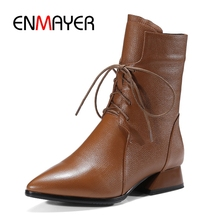 ENMAYER Women boots solid pointed toe lace up ankle women zipper fashion botas mujer ZYL1004