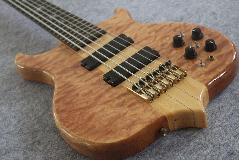 6 cordes basse guitare MEILLEURE exécution, Maple Grâce cou et corps D'or matériel Floculant motif Livraison gratuite