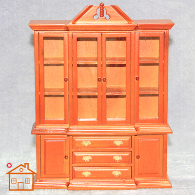 1:12 DIY Handmade Glass Cabinets Doll House Wooden Dollhouse Mini Display  Cabinet Furniture Home