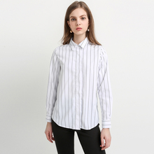 MY MAYAASOS Color Block Striped Basic Tops Women Long Sleeve Female Pullover Tops Casual Turn-down Collar Blouses Shirts