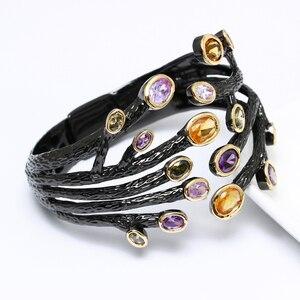 Image 2 - Fashion jewelry 2020 Black bangle multi cubic zirconia crystal bracelet femme armbanden voor vrouwen party bangles for women