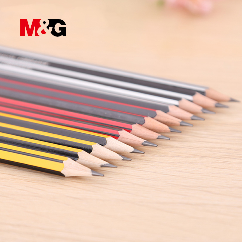 M&G 12 pcs Crude Wood HB Pencils Standard Pencils for Drawing fabric clothing High Quality simple Pencil with erasers 50 pcs box hb standard pencil set for kids non toxic crude wood pencils for school student brand stationery drawing writing