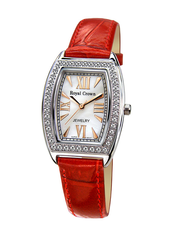 Фото Royal Crown Jewelry Watch 3635L Italy brand Diamond Japan MIYOTA platinum Elegant Shell Women