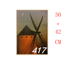 NO.417,windmill Setting sun/Famous design view/kraft paper/Wall stickers/Retro Bar Poster/decorative painting30x42cm