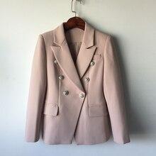 Высокое качество нового Мода 2017 дизайнер Blazer куртка Для женщин металла лев Кнопки двубортный Блейзер внешний слой Размеры S-XXL