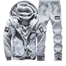 Winter Tracksuit Men's Sets 2018 Casual Male Brand Leisure Warm Outwear Thick Fleece Hoodies+Pants Men Sweat Sporting 2PCS Suits(China)