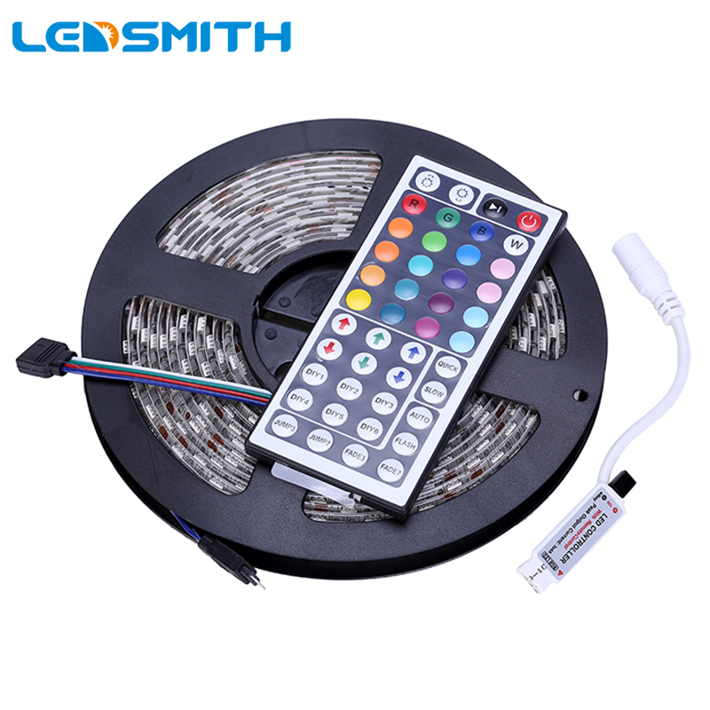 IP65 SMD 5050 RGB LED Strip Light Waterproof 300 LEDs 5M Flexible Tape with 44Key Mini IR Remote Controller LEDStrip Tape Ribbon zdm 5m 300 leds strip light with remote control