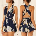 European American Women Sexy Sleeveless V-Neck Floral Romper Cross Bandage Beach Jumpsuit Slim Chiffon Short Playsuit Overall u2