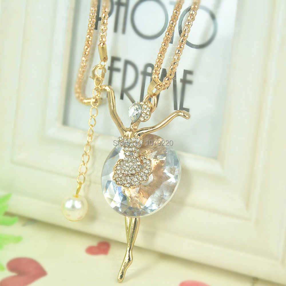 Girl Ballerina Beads Sweater Necklace Women Jewelry Crystal Long Necklace Pendants Rhinestone Christmars Valentine's Days Gift