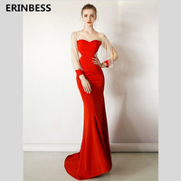 Vestido De Festa Scoop Neck Mermaid Evening Dresses Long Dress 2020 Fashion Robe De Soiree Beading Long Sleeve Red Evening Dress