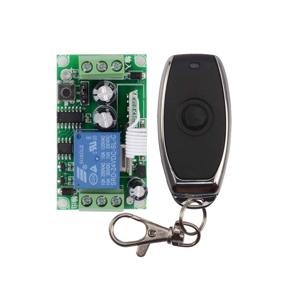 Smart Home DC 24V 1CH Remote Switch 10A Relay Switching Wireless Controller NO COM NC Button ON OFF Remote Switches 315/433 ASK dc 12v relay remote switch no com nc contact wireless switch 2a relay rf rx normally open close lithium aaa battery supply ask