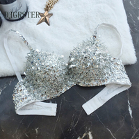 DJGRSTER Sexy Women S Beaded Sequins Embellished Chrysanthemum Bra 34 36B Cup Belly Dance Underwear Push