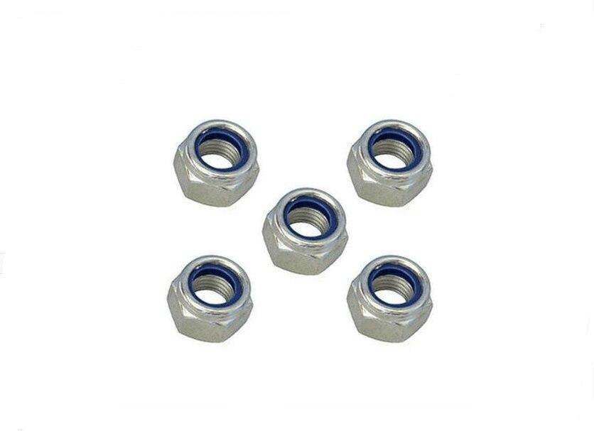 M8x1.25mm Zinc Plated Self-Locking Nylon Insert Hex Lock Nuts 100pcs