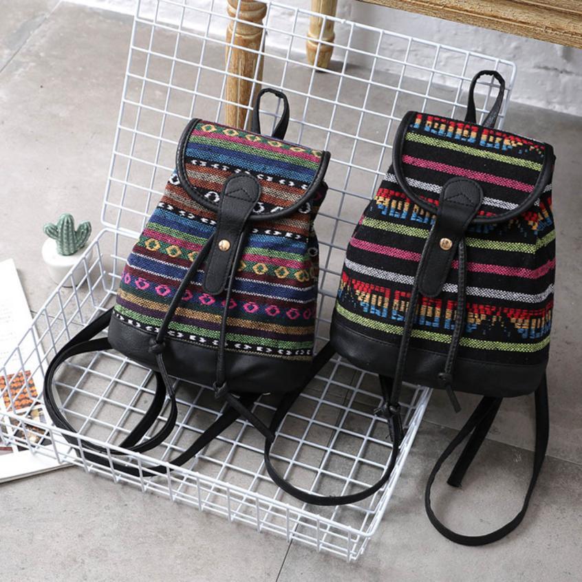 MOLAVE Backpacks high quality Fashion girl National Srripe Woven PU Canvas Backpack Hasp Shoulder backpack women mar27