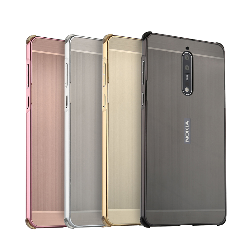 For Nokia 7 Case for Nokia7 Brushed Back Cover Hard Case with Plating Metal Frame Case for Nokia 8 Phone bags Case Cover in Fitted Cases from Cellphones Telecommunications