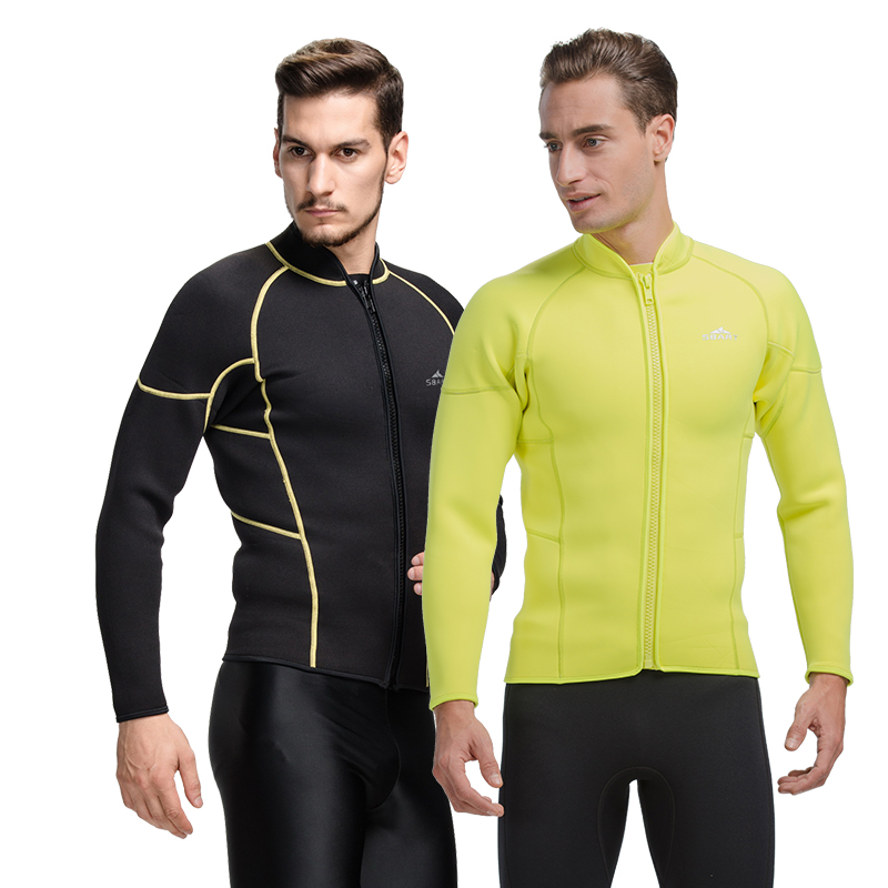 98ce6cfe3a SBART 3MM Neoprene Wetsuit Jacket Men Long Sleeve Full Zipper Super Stretch  Wetsuits Tops For Surfing High Quality Hot Sale L737