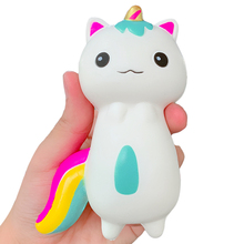 New Cute Unicorn Cat Squishy Kitty Doll Slow Rising Soft Squeeze Toy PU Bread Cake Scented Anti Stress Toy Fun for Kid Xmas Gift цена 2017