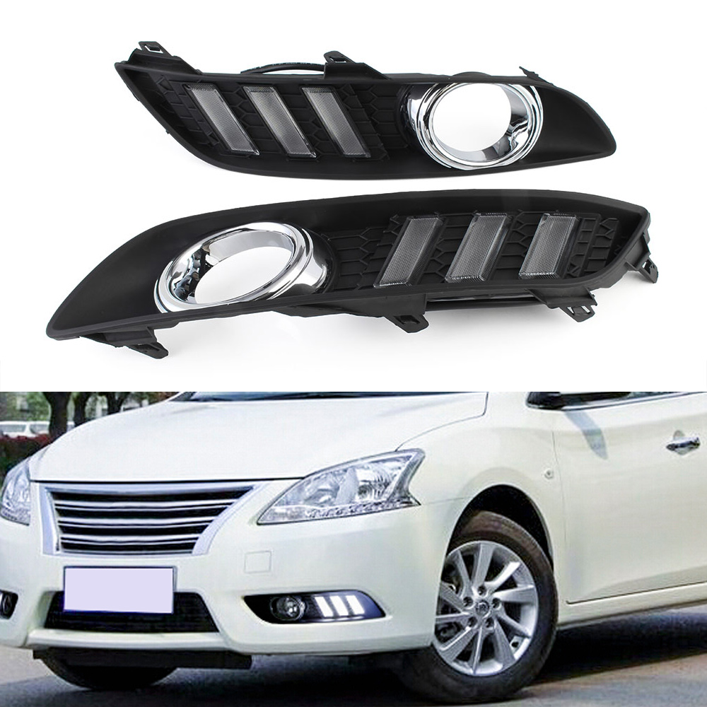 Car LED Lights DRL Auto Driving Daytime Running Day Light Turn Signal White Yellow For Nissan Sylphy 2012-2015 Free Shipping D35