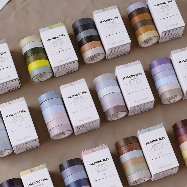 6 Pcs/Box Vintage Natural Solid Color Washi Tape Retro Adhesive Tape DIY Scrapbooking Sticker Label Masking Tape
