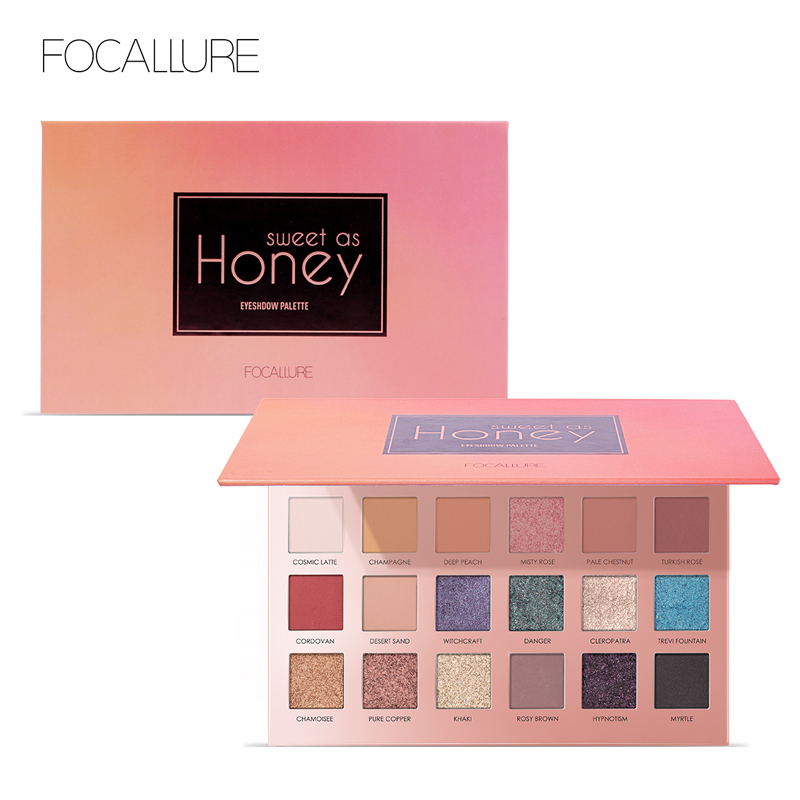 Focallure sombra de ojos brillo 18 colores pigmento sombra de ojos paleta impermeable fácil de usar Shimmer maquillaje