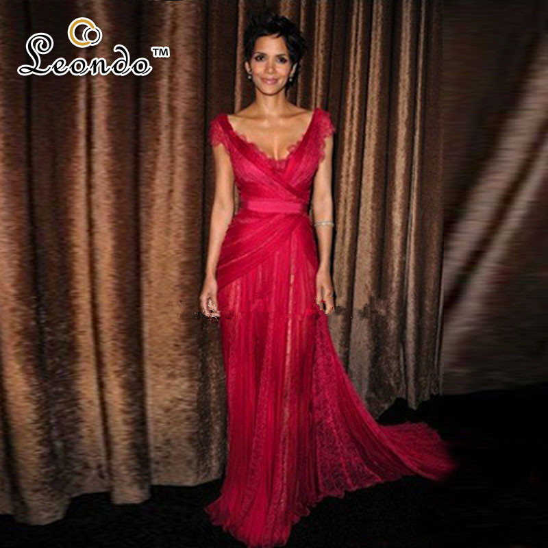 Halle Berry Burgundy Annual Costume Designers Guild Awards Lace Red Carpet Dress Tulle Pleat V-neck Floor-length Evening Dress Celebrity-inspired Dresses