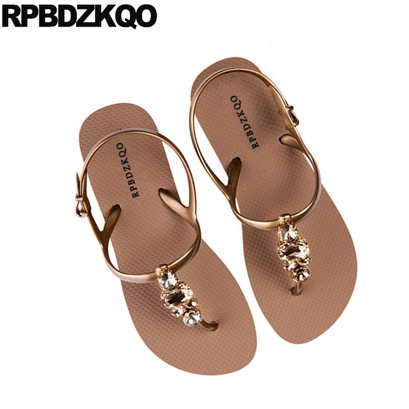 ec46461839587d ... Bohemia Holiday Sandals Fashion T Women Diamond Flat Beach Rhinestone  Shoes Gold Leisure Strap Slingback Jewel