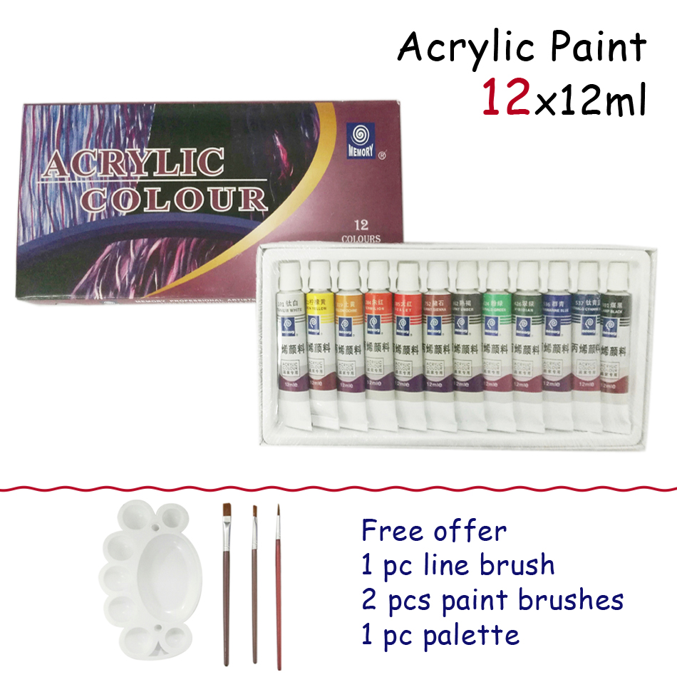 High Quality Acrylic <font><b>Paints</b></font> Tube Set Nail Art Painting Drawing For The Artists 12 Colors Kids Child DIY Children Teach Painting