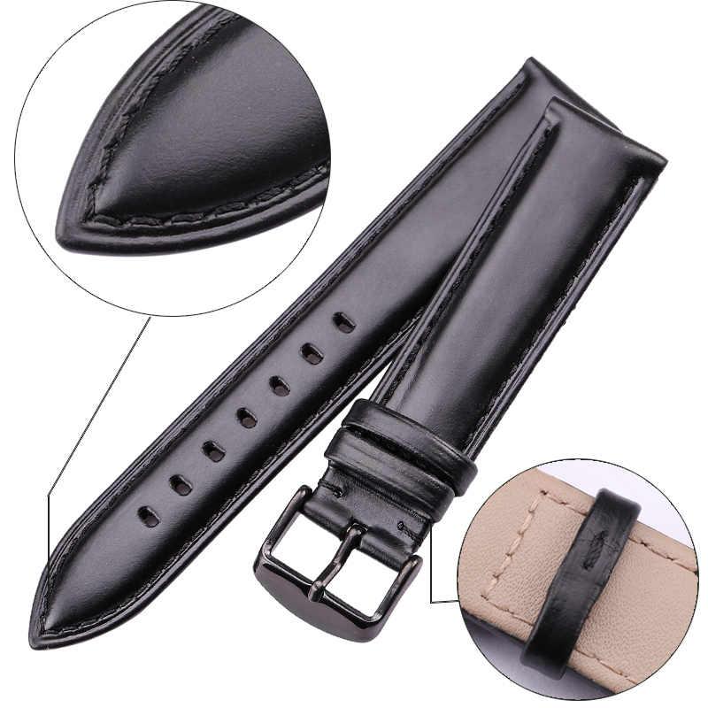 18 مللي متر 19 مللي متر 20 مللي متر 21 مللي متر 22 مللي متر 24 مللي متر Watchbands الرجال حزام (استيك) ساعة جودة عالية جلد طبيعي النساء حزام ساعة اليد أساور اكسسوارات