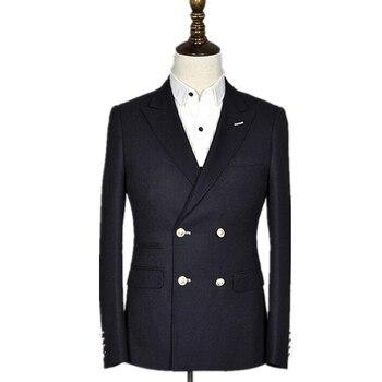 Newest men suit double-breasted slim wedding suit groom suit Business gentleman High-end formal suits Customize (jacket+pants)