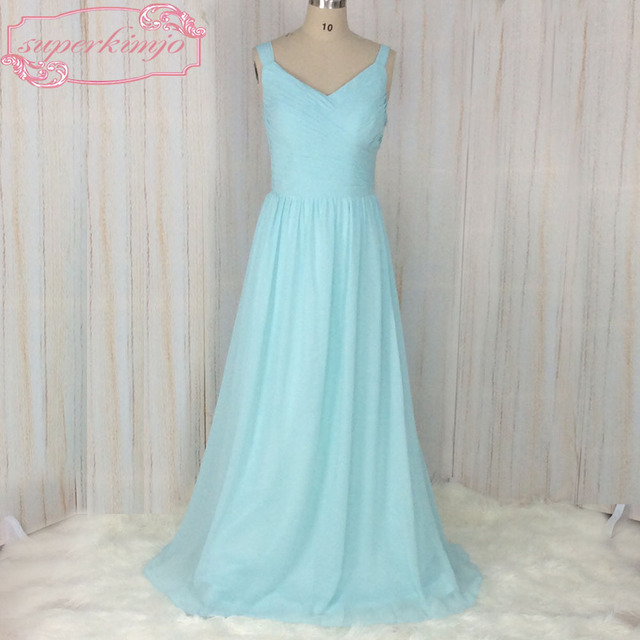 SuperKimJo Wedding Guest Dresses 2018 A Line Chiffon Light Blue Bridesmaid  Dresses Long V Neck Cheap Formal Dresses ad36300c2bb3