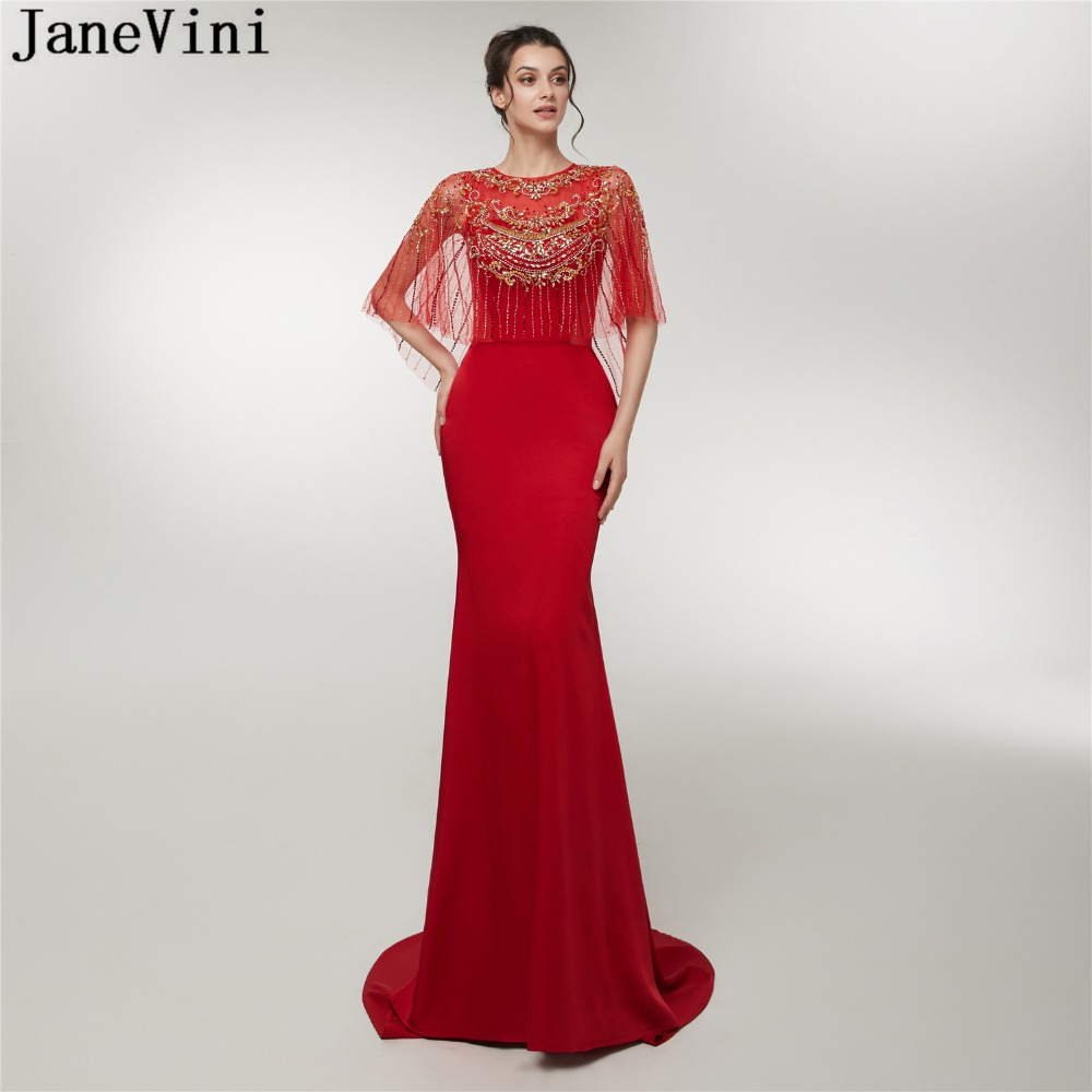 JaneVini Red Mermaid Long Prom Dress Luxury Beading Satin Sweep Train Illusion Back Sexy Bridesmaid Dresses Formal Party Gowns