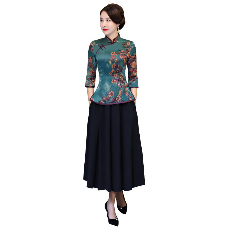 Vintage Chinese Blouse Skirt Sets Women Silk Shirt Mandarin Collar 2pc Clothing Summer Qipao Button Dress Size S-XXXL 9967