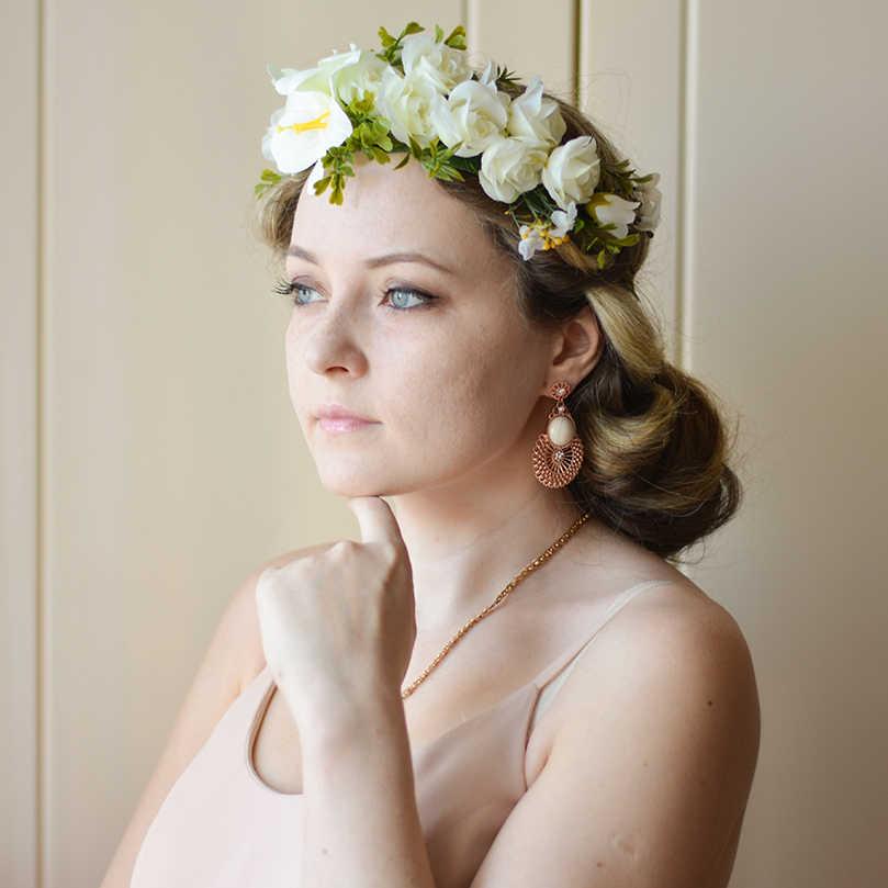 Flower Crown Wedding.Diadem Awaytr Flower Crown Wedding Bride Wreath Of Flowers Head Band Bohemia Women Hair Accessories Flower Headband Headpiece