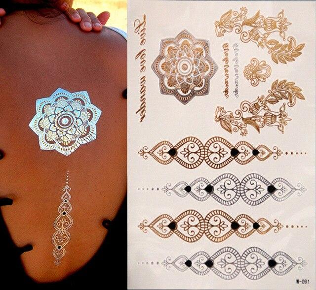 Green Henna Wrist Tattoo: Hot Flashes Of Gold Silver Metal Waterproof Henna Tattoos