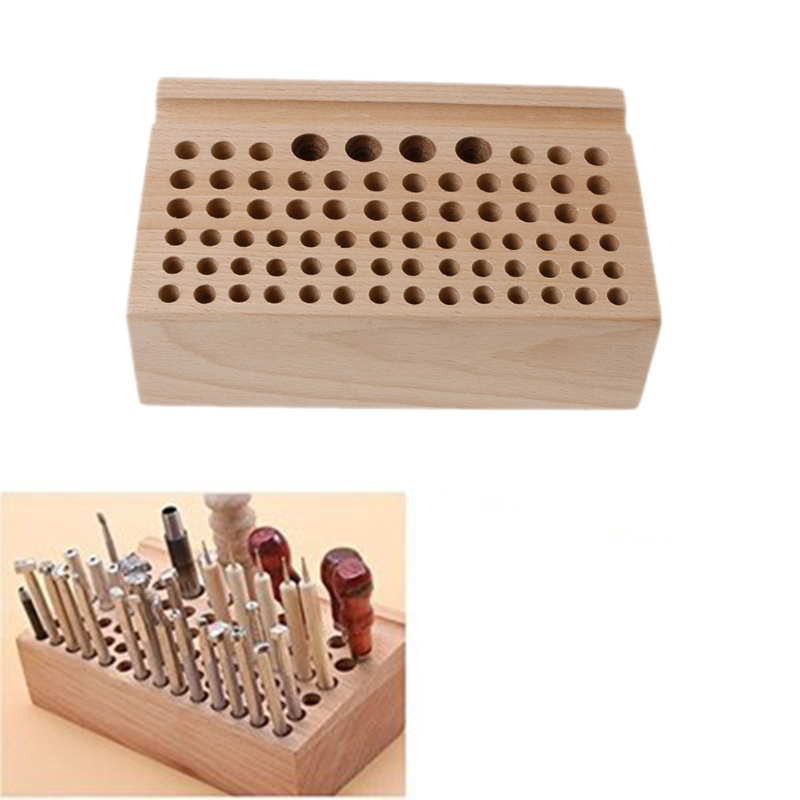 1Set 27 Holes 4 Spool Thread Stand Rack Tool Stamp Stand Beech Rack Leather