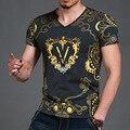 Fashion Luxury new casual cotton t shirt men brand 2016 fitness short sleeve printed male tshirt tops tees Men's Clothing